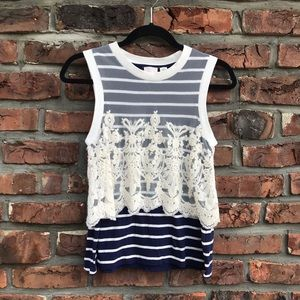 Anthropologie Postmark Stripes & Lace Tanktop